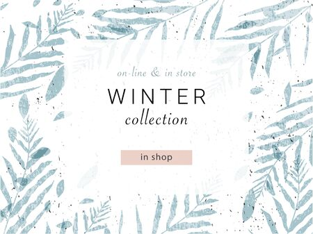 social media banner template for advertising winter arrivals collection or seasonal sales promotion. trendy hand drawn background textures and floral elements imitating watercolor paintings Vektorové ilustrace