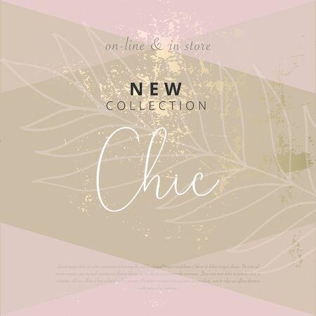 Social-Media-Banner-Vorlage für die Mode- oder Schönheitsindustrie, die für Neuankömmlinge oder saisonale Verkaufsförderung Werbung macht. trendiges BLUSH ROSA GOLD HINTERGRUND