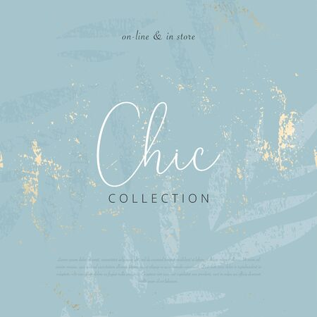 Social media banner template for advertising winter arrivals collection or seasonal sales promotion. Beautiful textured background with botanical ornate imitating watercolor or gouache paintings  イラスト・ベクター素材