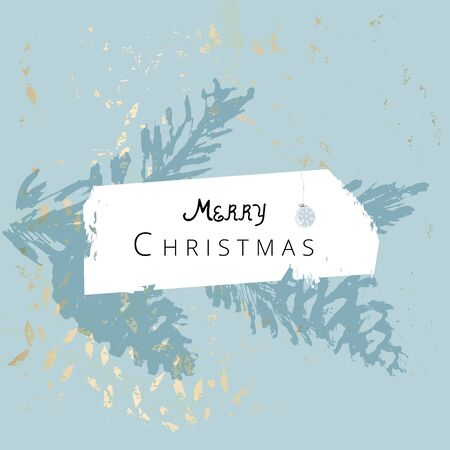 Merry Christmas greeting card winter holiday background Illustration