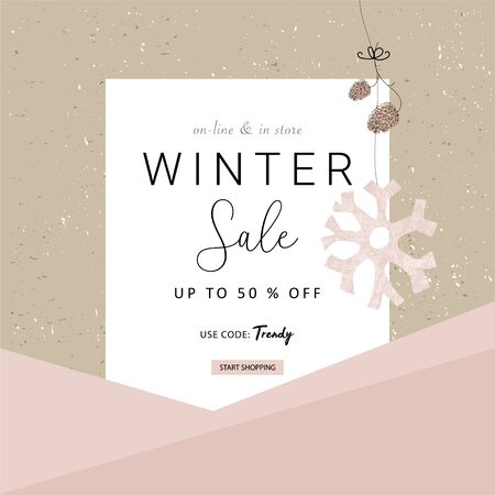 Social media banner template for advertising winter arrivals collection or seasonal sales promotion. Cute hand drawn background with Christmas tree decoration elements