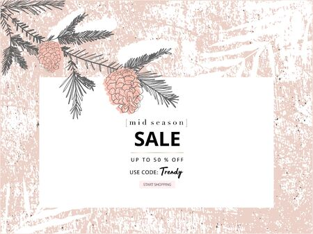 social media banner template for advertising winter arrivals collection or seasonal sales promotion. trendy hand drawn background textures and floral elements imitating watercolor paintings