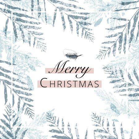 Frohe Weihnachten-Gruß-Banner-Vorlage für Werbung oder Grußkarten, Postkarten und Einladungen. trendige handgezeichnete Hintergrundtexturen und botanische Elemente, die Aquarelle imitieren