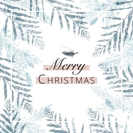 merry christmas greeting banner template for advertising or greeting cards, postcards and invitations. trendy hand drawn background textures and botanical elements imitating watercolor paintings 向量圖像