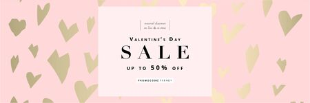 Valentines day hearts banner template for social media or stationery design