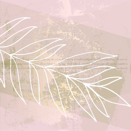 abstract floral pastel pink gold blush coating on craft brown paper decor background . Chic trendy pattern with botanical motifs  Illustration