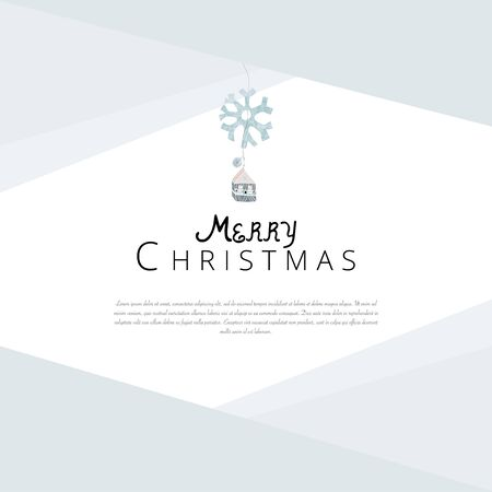 Merry Christmas cute greeting card or banner template with different winter holidays xmas tree hanging decorations. Beautiful fairy background elements imitating watercolor paintings