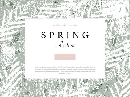 social media banner template for advertising spring arrivals collection or seasonal sales promotion. trendy hand drawn background textures and floral elements imitating watercolor paintings 向量圖像