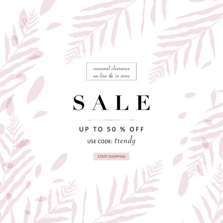 social media banner template for advertising spring arrivals collection or seasonal sales promotion. trendy hand drawn background textures and floral elements imitating watercolor paintings  イラスト・ベクター素材