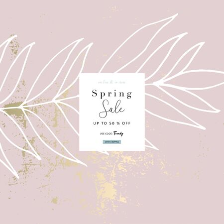 Social media banner template for fashion or beauty industry advertising new arrivals collection or seasonal sales promotion. trendy hand drawn background textures with floral botanic elements