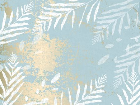 abstract foliage pastel blue gold blush background. Chic trendy print with botanical motifs Illustration