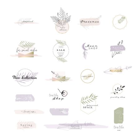 gentle set of botanical and chic templates