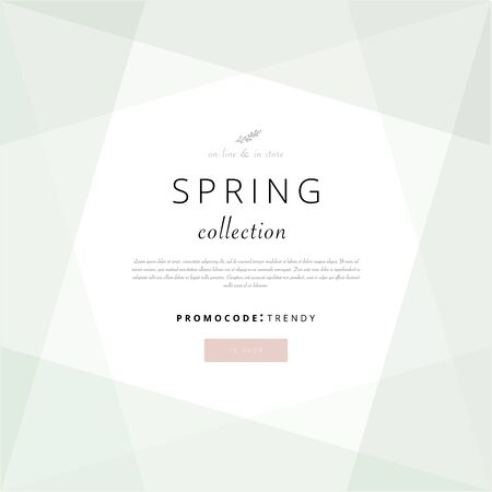 Social media banner template for advertising spring arrivals collection or seasonal sales promotion. trendy hand drawn background textures and floral botanical elements 向量圖像