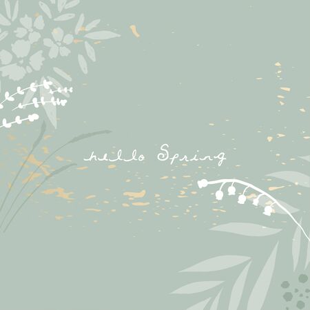 trendy hand drawn background textures and floral botanicals