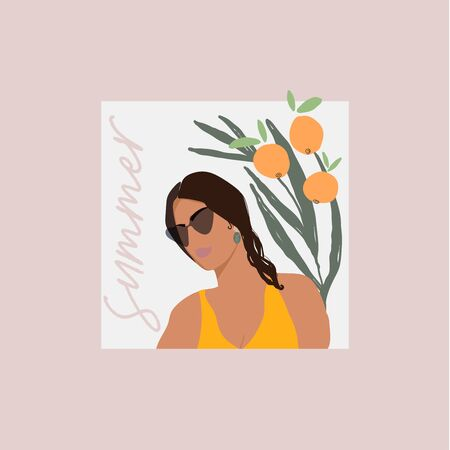 Modern girl face in sunglasses flat minimal illustration with hand drawn botanical decorative elements. Chic fashion women outfit look character