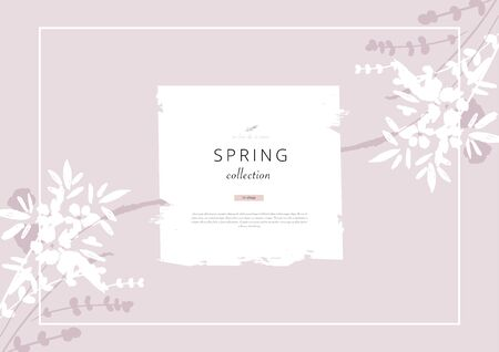 trendy hand drawn background textures and floral botanical elements
