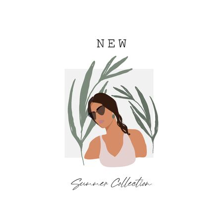 Modern girl face in sunglasses flat minimal illustration with hand drawn botanical decorative elements. Chic fashion women outfit look character Illustration