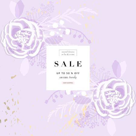 rustic florals on violet background 矢量图像