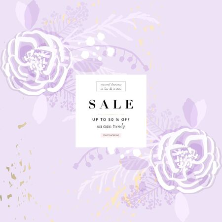rustic florals on violet background Illustration
