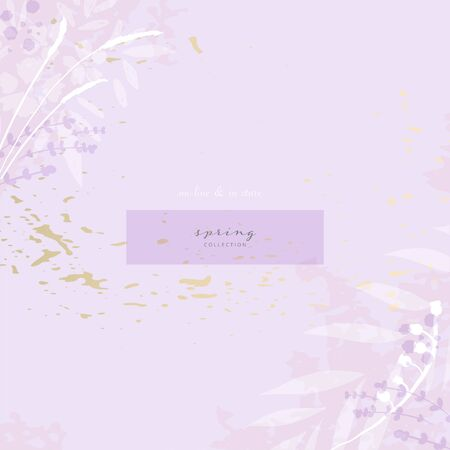 Hand drawn rustic florals on violet background for social media, advertising, banner, invitation card, wedding, fashion header