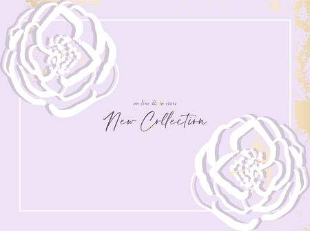 Hand drawn florals on chic gold rustic lavender color background