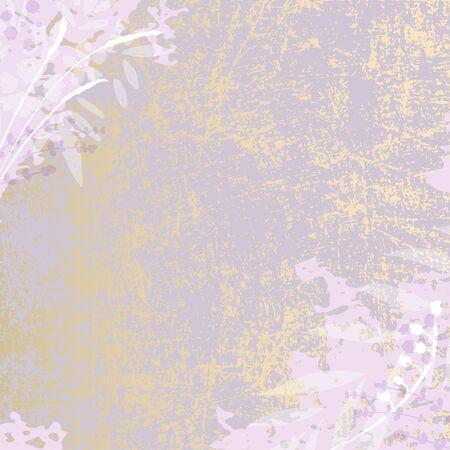 Hand drawn rustic florals on violet background Ilustração