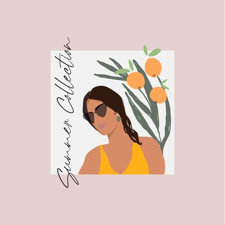 Modern girl face in sunglasses flat minimal illustration Ilustração