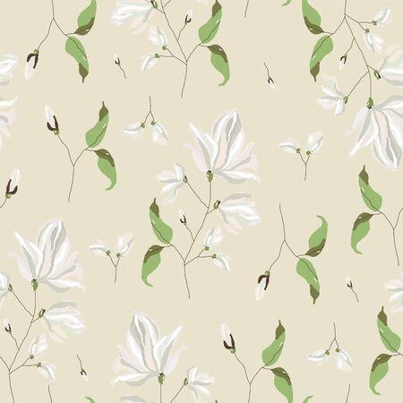 magnolia flower blossom Seamless Pattern Ilustração