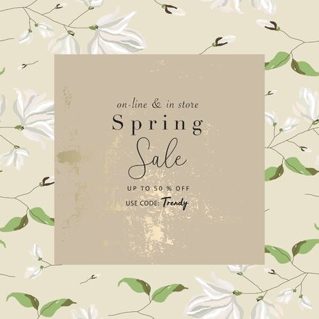 spring sale advertising banner template sticker
