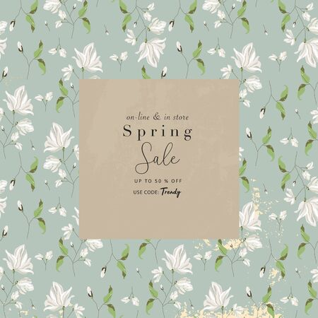 spring sale advertising banner template sticker