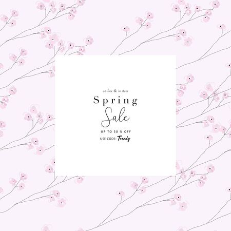 delicate hand drawn Cherry Blossom Floral Seamless Pattern and spring sale advertising banner Vettoriali