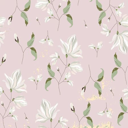 chic magnolia floral pattern on blush pink background with gold foil texture