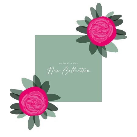 Chic hand drawn Peony flower modern design for social media  Vettoriali