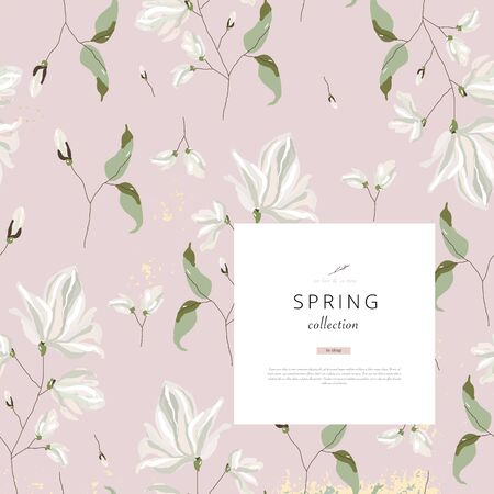 floral spring social media banner for advertising with chic magnolia flower pattern  Vettoriali