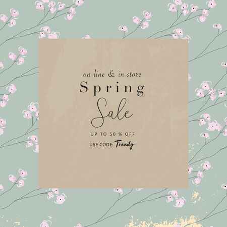 floral spring social media banner for advertising with chic flowers pattern  Vettoriali