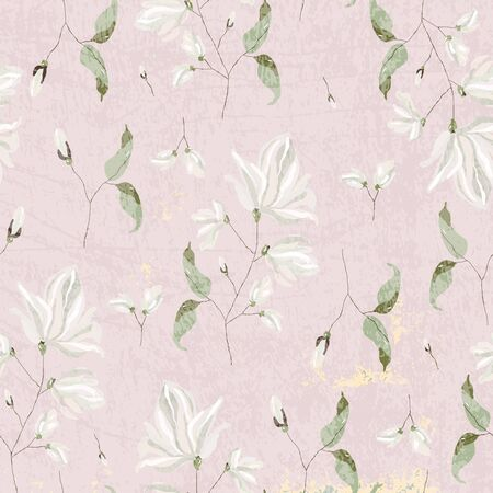 chic magnolia floral pattern on blush pink background