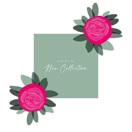 Chic hand drawn Peony flower modern design for social media banner, poster, greeting card, invitation card, business, web, blog, seasonal clearance, birthday, anniversary, stationary, valentines day Ilustração