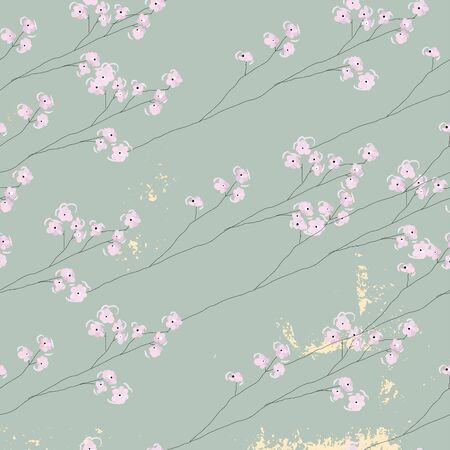delicate floral cherry blossom pattern on vintage gold foil textured background Vettoriali