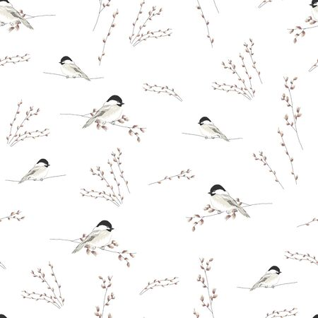 spring seamless pattern with hand drawn little tit birds