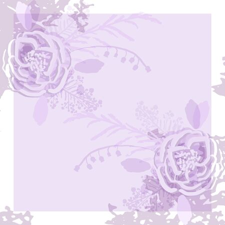 rustic florals on violet background Vettoriali