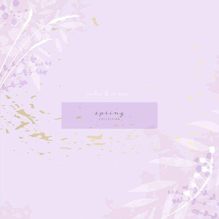 Hand drawn rustic florals on violet background for social media, advertising, banner, invitation card, wedding, fashion header