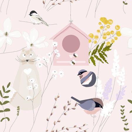 Spring garden seamless pattern with hand drawn springtime florals Ilustração