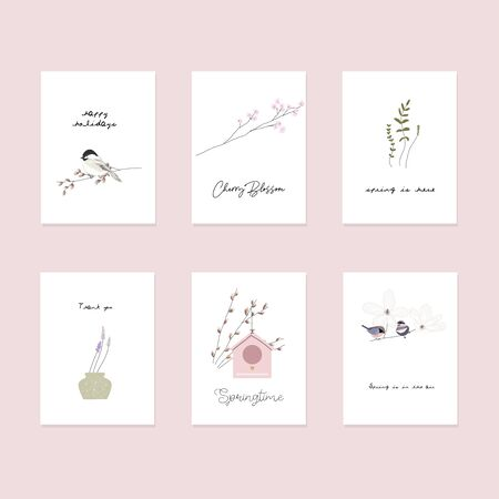 cute spring postcards with hand drawn springtime elements