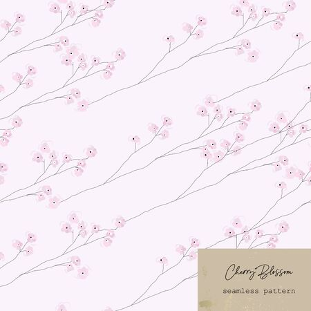 hand drawn Cherry Blossom Floral Seamless Pattern Banque d'images