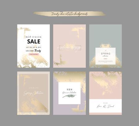 Chic nude pastel color decorative card templates with gold foil decorations