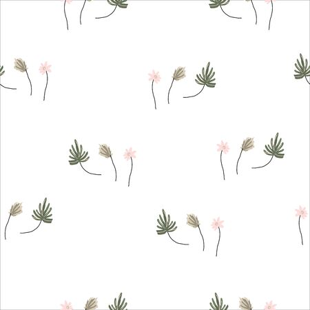 Seamless Cute small hand drawn sketch of botanicals and little flowers