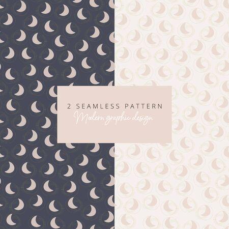 minimalistic modern art moon shapes seamless pattern