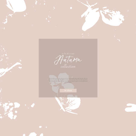 Floral rustic background with hand drawn doodle flowers and botanical elements