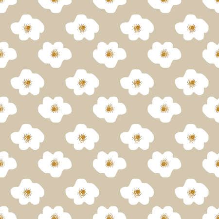 cute daisy abstract flowers seamless pattern