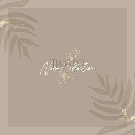 Tropical foliage chic background with doodle botanical elements 일러스트